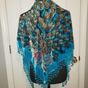 Velvet beaded peacock shawl